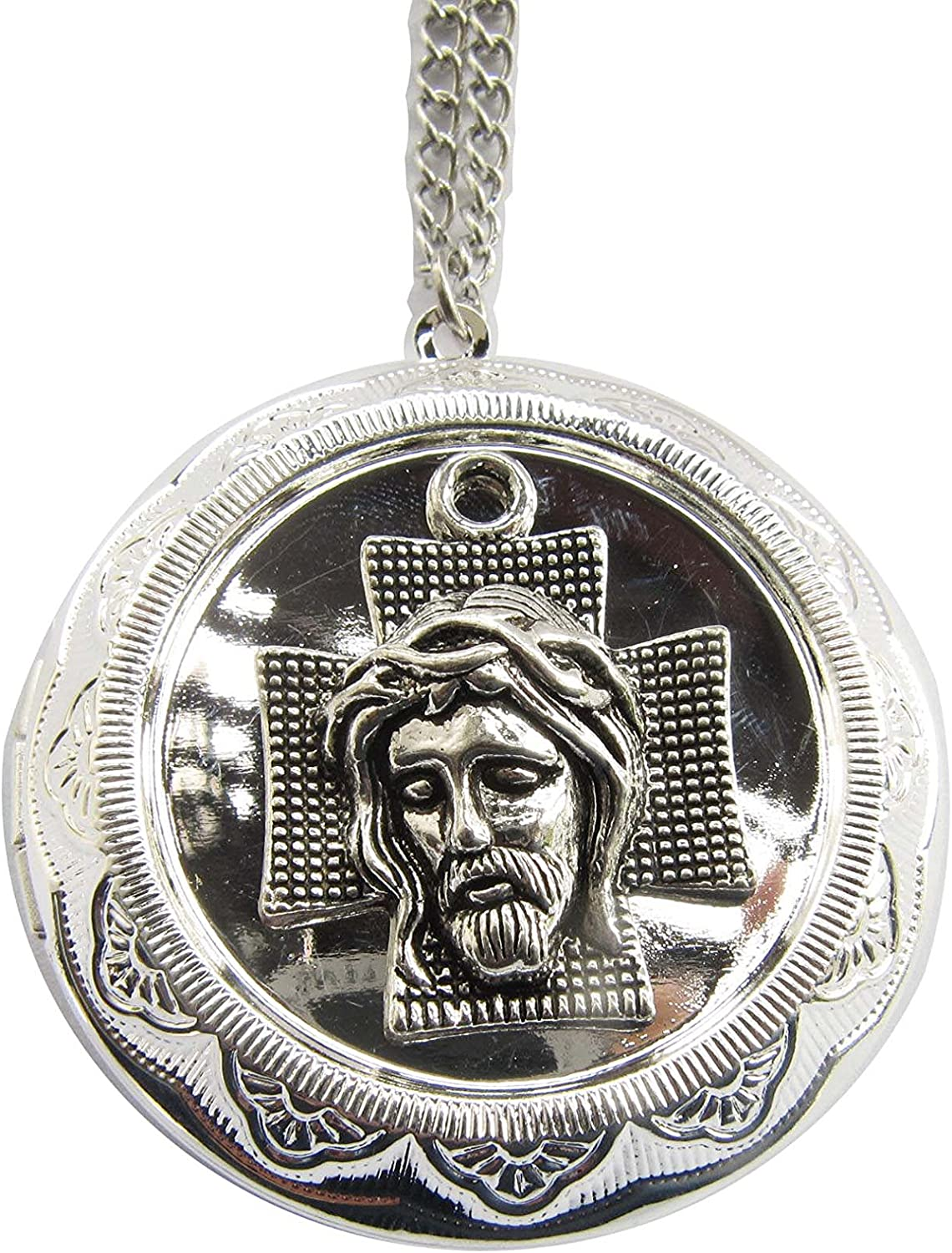 Crown of Thorns Silver Max 79% Detroit Mall OFF Jesus Necklace Cross Holy Face Locket