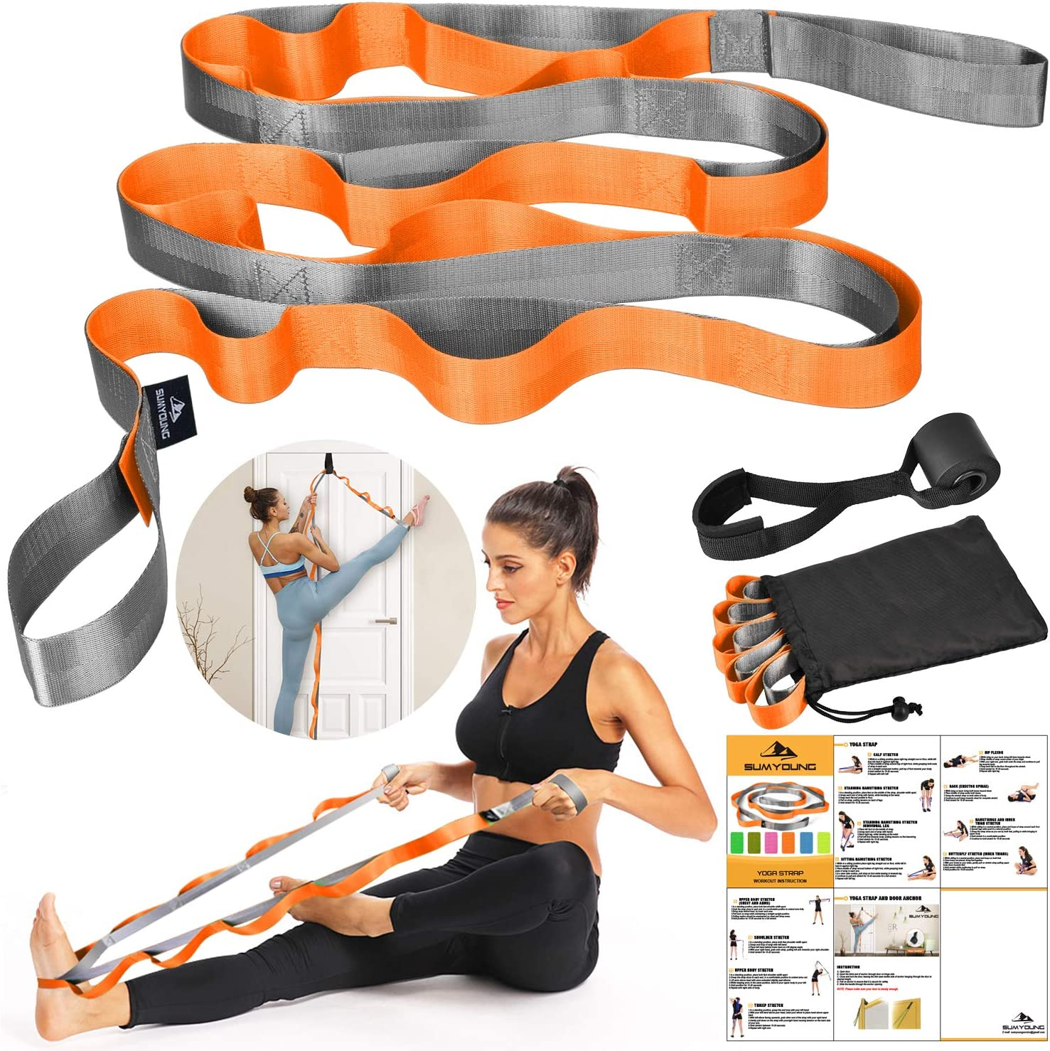 Max 53% OFF SUMYOUNG Yoga Strap Stretch with Max 55% OFF Loops Nonelastic 12 Str