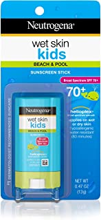 Neutrogena Wet Skin Kids Water Resistant Sunscreen Stick for Face and Body, Broad Spectrum SPF 70, 0.47 oz (Pack of 2)