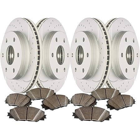High-End 8 Semi-Metallic Pads 4 Black Coated Cross-Drilled Disc Brake Rotors Fits:- 6lug Front+Rear Kit