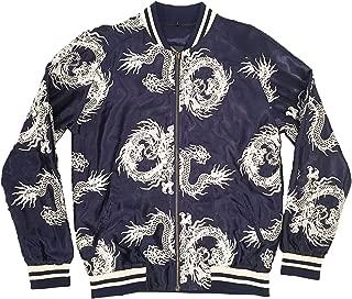 Unisex Navy/Silver All-Over Dragon Souvenir Jacket