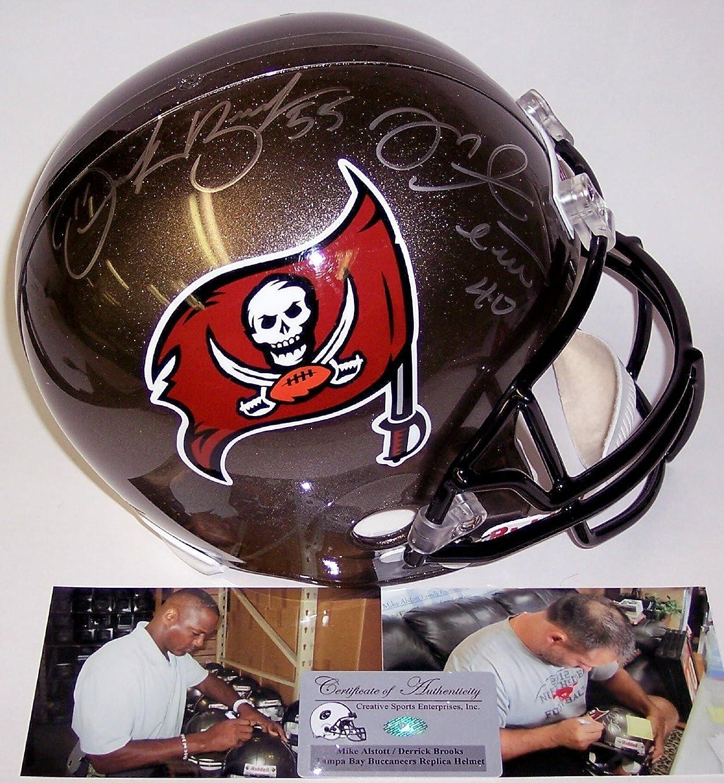 Mike Alstott & Derrick Brooks Autographed Hand Tampa Bay Buccaneers Full Size Helmet  PSA DNA