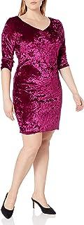 Star Vixen womens 3/4 Slv Pinch Vfrt Str Velvet Bodycon Dress Casual Night Out Dress