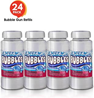 ArtCreativity 4 oz Bubble Solution Refill for Bubble Guns - 24 Pack 4oz Each - 24 Bottles Non-Toxic Bubble Fluid for Kids - Liquid for Bubble Machine, Bubble Blowing Gun, and Toy Wands