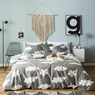 SUSYBAO 3 Pieces Duvet Cover Set 100% Natural Cotton Gray King Size White Clouds Print Bedding Set with Zipper Ties 1 Vertical Striped Duvet Cover 2 Pillowcases Luxury Quality Soft Breathable Durable