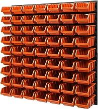 Wandplank stapelboxen opslagsysteem - 772 x 780 mm - 63 stuks boxen werkplaats lakenrek gereedschapswand (oranje)