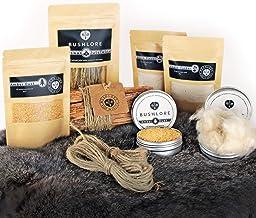 Natural Firelighting Zinndose Bushcraft Geschenkset – Kapok, Fatwood, Jute, Bienenwachs, Jute-Garn – hergestellt in Großbritannien
