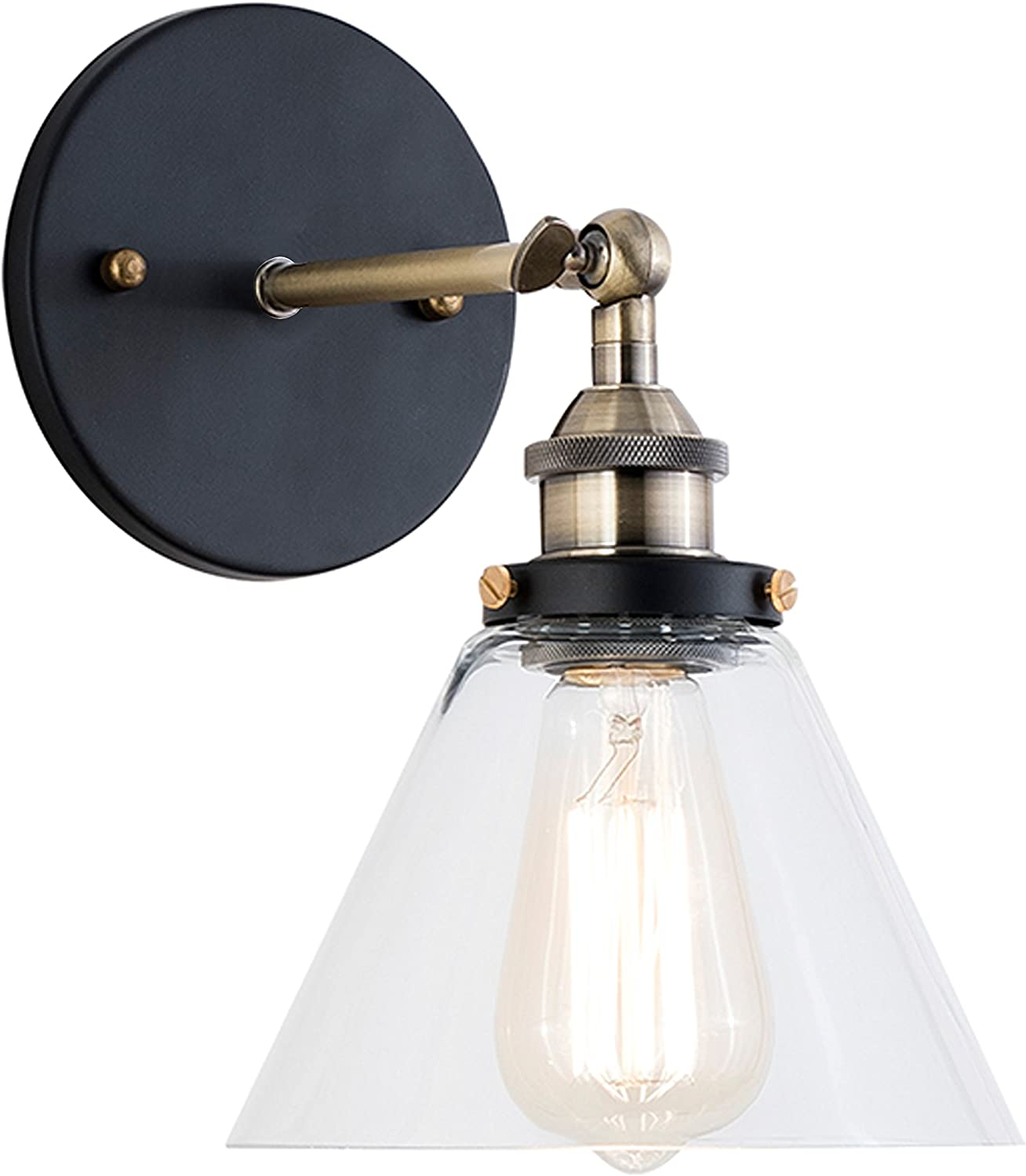 Light Society Cruz Wall Sconce, Clear Glass Shade with Antique Brass Finish, Vintage Modern Industrial Farmhouse Lighting Fixture (LS-W129)