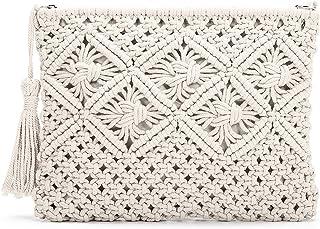 JOSEKO Damen Stroh Clutch, Strandtasche Frauen Geldbörse Quaste Polyester Baumwolle Handtasche Vintage Handgewebte Tasche ...