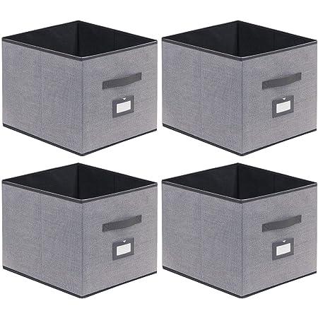 homyfort Lot de 4 Boîtes/Tiroirs en Tissu Cube de Rangement Pliable Coffre pour Linge, Jouets, Vêtement avec poignées en Cuir et Etiquettes, 33 x 38 x 33 cm, Gris Tissu en Lin, XDBXL04PLP