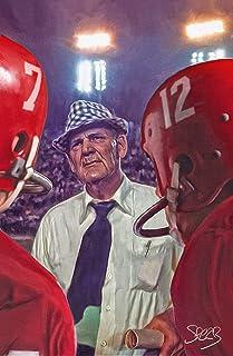 Signed University of Alabama Football Crimson Tide 11x17 Art Print Poster Paul Bear Bryant Throwback By Mark Spears