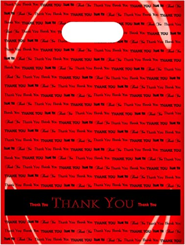 Flexicore Packaging Plastic Thank You Bags with Die Cut Handle Size: 9 Inch X 12 Inch   Count: 50 Bags   Color: Red
