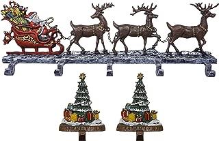 Lulu Decor, 100% cast Iron Decorative Christmas Stocking Holders, Deer with 5 Hooks and 2 Trees Solid Hooks, Beautiful Design