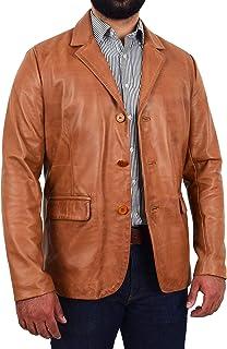HOL Mens Soft Leather Three Button Blazer Classic Casual Jacket David Tan