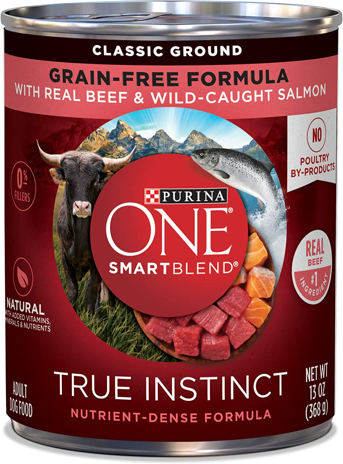 Purina ONE SmartBlend True Instinct Classic Ground with Real Beef & WildCaught Salmon Dog Food, 13 oz