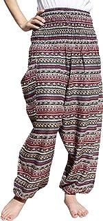 Raan Pah Muang Women's Smocked Waist Rayon Printed Summer Harem Baggy Boho Pants