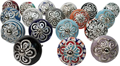 Lot of 23 Knobs Multicolor Rare Hand Painted Ceramic Knobs Cabinet Drawer Pull Indian Mix Knobs