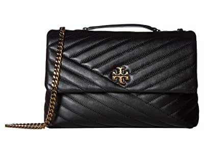 Tory Burch Kira Chevron Convertible Shoulder Bag (Black) Handbags