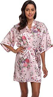 season dressing Floral Satin Kimono Robes Short Bridesmaid Robe for Parties Wedding Robes