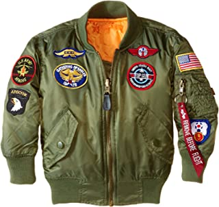 Alpha Industries Boys' Little MA-1 Bomber Jacket with Patches
