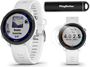 Garmin Forerunner 245 Music (White) Running GPS Watch Power Bundle   +HD Screen Protectors & PlayBetter Portable Charger   Music & Spotify, Advanced Analytics, Heart Rate, PulseOx 2019 010-02120-21