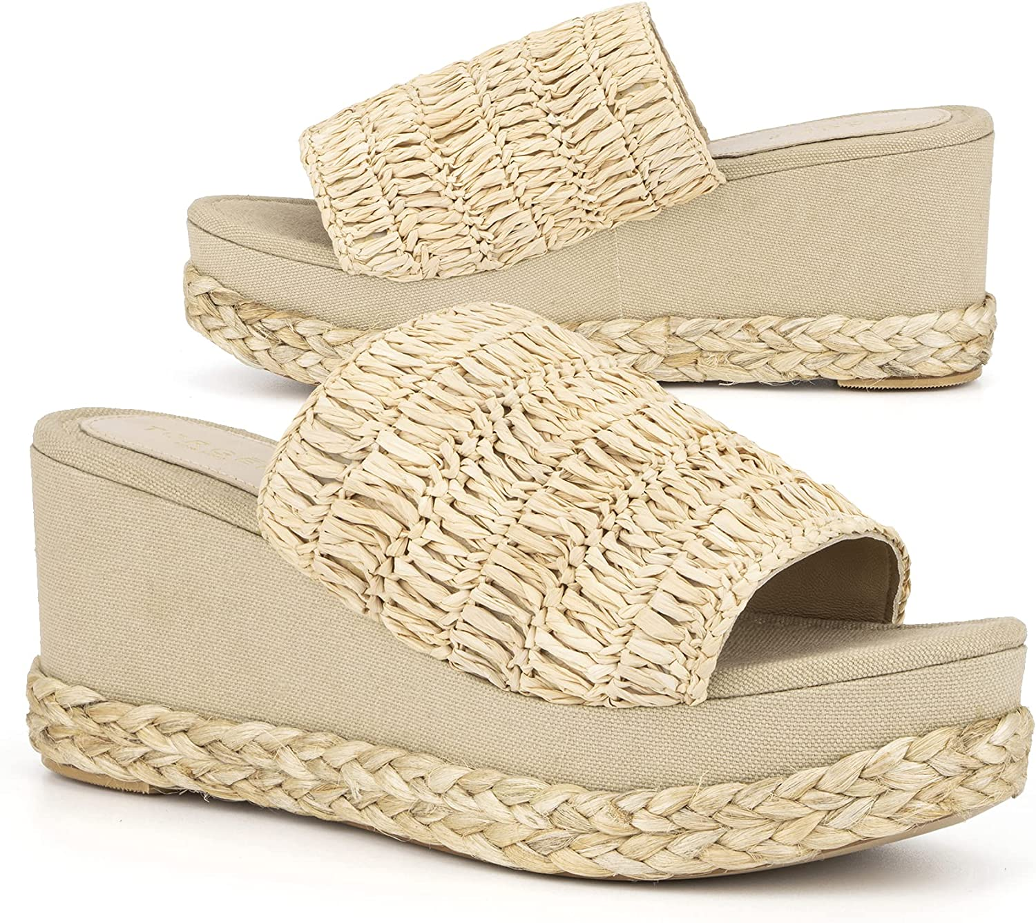 Torgeis Women's Neith Espadrille Slip-On Wedged Platform Heeled Sandal, Round Open Toe, Rubber Outsole