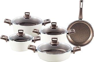Alberto Granite Cookware Sets - 9 Pieces - Cream