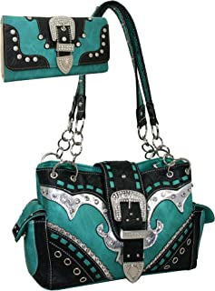 Western Rhinestone Buckle Accent Purse Handbag With Matching Wallet
