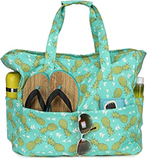 Beach Tote Pool Bags for Women Ladies Extra Large Gym Tote Carry On Bag With Wet Compartment for Weekender Travel Waterproof (Pineapple Mint Green)