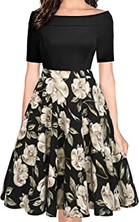 7acea101e57 oxiuly Women s Vintage Off Shoulder Pockets Casual Floral A-Line Party  Cocktail Swing Dress OX232