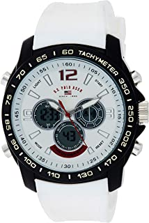 U.S. Polo Assn. Sport Men's Quartz Metal and Rubber Casual Watch, Color:White (Model: US9556)