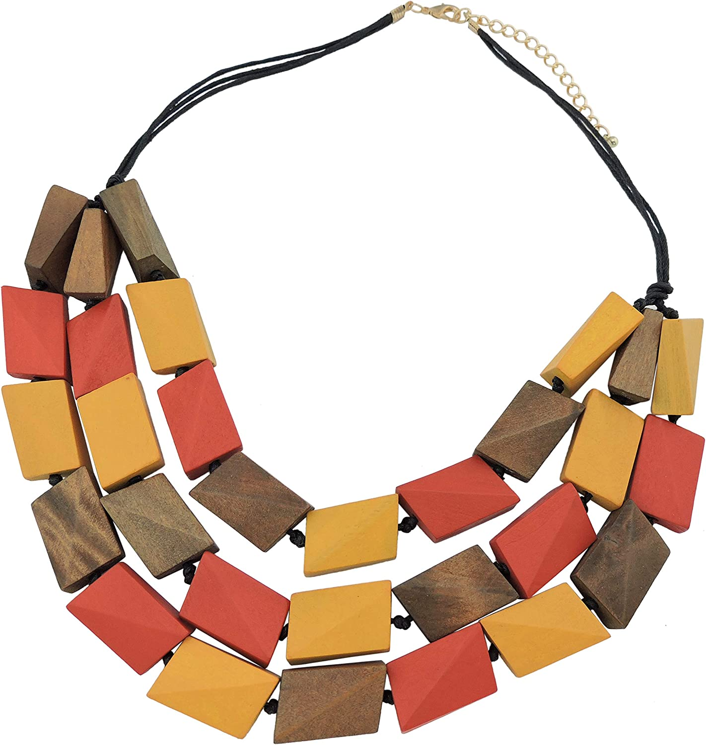 Coiris 3 Layers Big Faceted Wood Beaded Strand Statement Necklace for Women Chunky Collar (N0018)