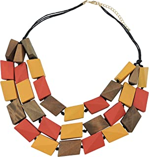 COIRIS 3 Layers Big Faceted Wood Beaded Strand Statement Necklace for Women Chunky Collar (N0018-red+Yellow+Brown)
