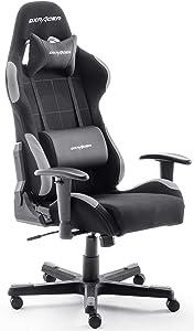 DX Racer5 Sedia da Gioco Sedia da scrivania Sedia da Ufficio Gaming Chair Nero/Grigio 78 x 52 x 124-134 cm