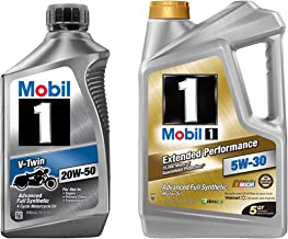Mobil 1 20W-50 Full Synthetic Motorcycle Oil, 1-Quart, Single Bundle 5W-30 Extended Performance Full Synthetic Motor Oil, 5-Quart, Single