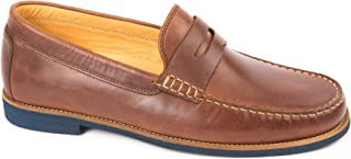 Austen Heller Men's Lincolns Brown Leather Penny Loafers