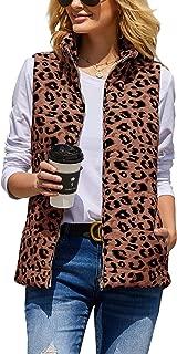CNJFJ Womens Leopard Print Vest Lightweight Outdoor Puffer Vests with Pockets