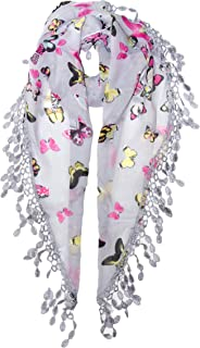 Butterfly Lace Fringe Scarf