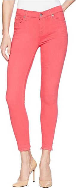 7 For All Mankind The Ankle Skinny w/ Released Hem in Cherry Ice