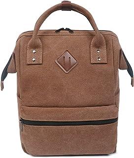 Mochila para Mochila portátil Bolsa de Escuela de Lona Unisex Vintage Daypack para Hombres y Mujeres, Colegio y niños (café)