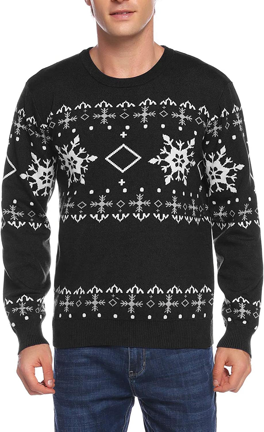 Aibrou Couples Ugly Christmas Sweater Pullover Sweater Crewneck Snowflake Reindeer Patterns Holiday Sweaters for Family