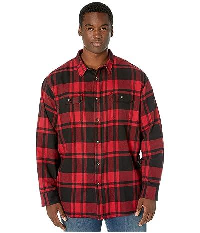 Dickies Big Tall Long Sleeve Flex Plaid Woven Shirt (Black/Charcoal Red Plaid) Men