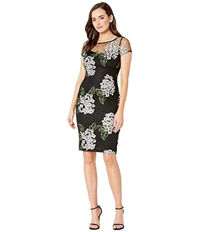 Adrianna Papell Hydrangea Embroidered Sheath Dress (Black/Pink Multi) Women