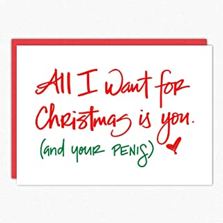 Naughty Christmas Card. All I Want Is You IN100. Sexy Christmas Card. Christmas Card For Boyfriend. Boyfriend Christmas Card. Husband Christmas Card Funny. Single folded greeting card with envelope