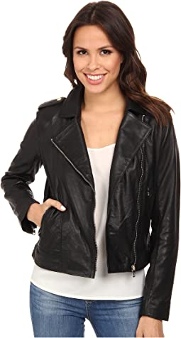 "Cole Haan 20"" Leather Moto Jacket"