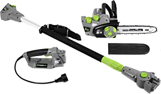 Earthwise CVPS43010 7-Amp 10-Inch Convertible 2-in-1 Corded Electric Pole Saw/Chainsaw, Grey