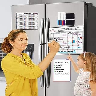 "ANCHOREST Magnetic Calendar for Refrigerator. 17""x 12"" Monthly Fridge Calendar Set includes Magnetic 2020 Calendar, Whiteboard Planner, 6 Markers & 2 Erasers.  Magnetic Dry Erase Calendar."