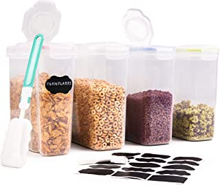 4 Große Müslidosen Vorratsdosen Set, 4L  mit Etiketten, Stift & Bürste für Reinigen  Robust & BPA-Frei  Frischhaltedosen Aufbewahrung  Getreide Müsli Cornflakes Mehl Reis Zucker usw.