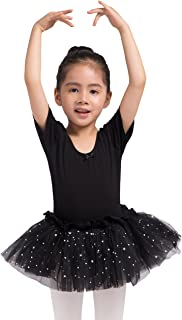 Girls Skirted Leotard Sparkle Short Sleeve Tutu Ballet Dress Front Lined