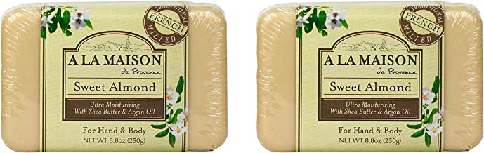A La Maison de Provence Sweet Almond Hand and Body Soap (Pack of 2) With Shea Butter and Argan Oil, 8.8 oz Each